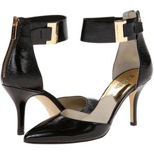 Michael Kors Guiliana Black Mid Ankle Strap Heels